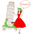 girl in italy vector image