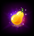 glossy yellow ripe pear fruit icon for slot vector image