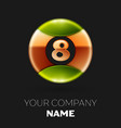 golden number eight logo symbol in the circle vector image vector image