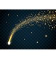 Golden sparkling falling star 2 transparent vector image vector image