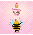 Happy Birthday card background with a bee vector image vector image
