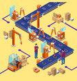 isometric automatic robotic assembly line vector image vector image