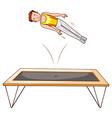 Man athlete jumping on trampoline vector image