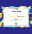 modern certificate completion template with vector image vector image
