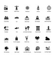 ocean and sea life glyph icons 2 vector image