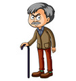 old man with walking stick vector image