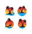 palm tree on a beach logo template vector image vector image