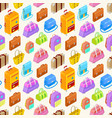 pattern of colorful isometric bags vector image vector image