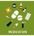 Pills drugs and medical icons vector image vector image