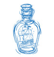 pirate frigate in a green glass bottle monochrome vector image
