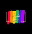 pride month 2021 logo with rainbow flag banner vector image