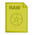 RAW file icon cartoon style vector image vector image