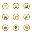 riot icons set cartoon style vector image vector image