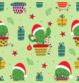 seamless pattern with christmas cactus vector image vector image