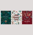 set christmas holiday greeting cards or posters vector image vector image
