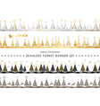 set of christmas seamless forest borders vector image vector image