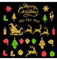 Set of golden glitter Christmas design elements vector image vector image