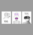 set vr posters man in virtual reality headset vector image vector image
