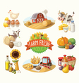 set with farm fresh products vector image vector image