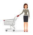 shopping woman with a cart vector image
