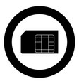 sim card icon black color in circle or round vector image vector image
