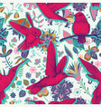 sketch pattern with hummingbirds and vector image vector image