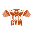 strong lion emblem leo and barbell logo for gym vector image vector image