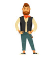 stylish bearded man in leather vest and jeans vector image