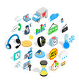 temporal icons set isometric style vector image vector image
