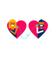 valentine day couple talking online concept design vector image vector image