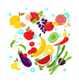 vegetables and fruits pattern from eco products vector image