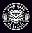 vintage badge a bulldog with dumbbell for gym vector image vector image