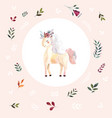 vintage with cute unicorn vector image vector image