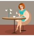 Young elegant woman is crying in the cafe using a vector image vector image
