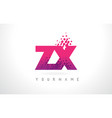 zx z x letter logo with pink purple color and vector image vector image