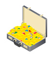 Suitcase with gold treasure Case with coins and vector image