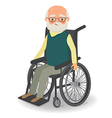 Senior man in wheelchair on a white background vector image