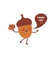 acorn cartoon character saying thank you vector image vector image