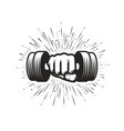 arm with dumbbell gym fitness logo vector image vector image