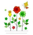 Artistic angular flower line art card vector image vector image