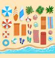 beach elements top view sandy beach elements vector image