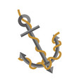 big metal anchor tied with rope isolated vector image vector image