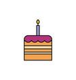 birthday cake celebration party line fill design vector image