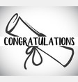 card template with congratulations word and degree vector image