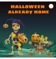 Card with funny skeleton for special holidays vector image vector image