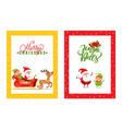 cards with santa claus reindeer elf dwarf vector image vector image