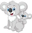 Cartoon baby Koala on Mother Back vector image vector image