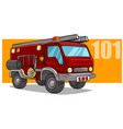 cartoon emergency rescue fire department truck vector image