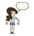 cartoon pretty woman with speech bubble vector image vector image