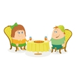 Children near table isolated vector image vector image